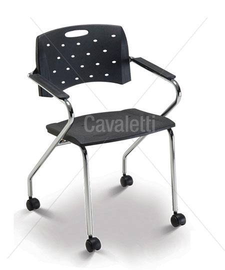 Cavaletti Viva – Cadeira Aproximação 35007 Z com rodízios Cadeira Giratória com braços Assento e Encosto plásticos Estrutura Z com rodízios